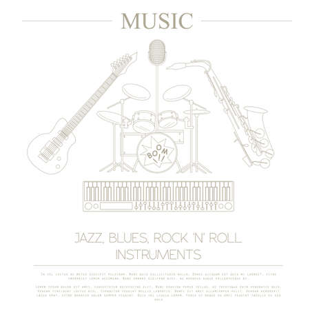 blues: Musical instruments graphic template.Jazz, blues, rock`n`roll band. Vector illustration