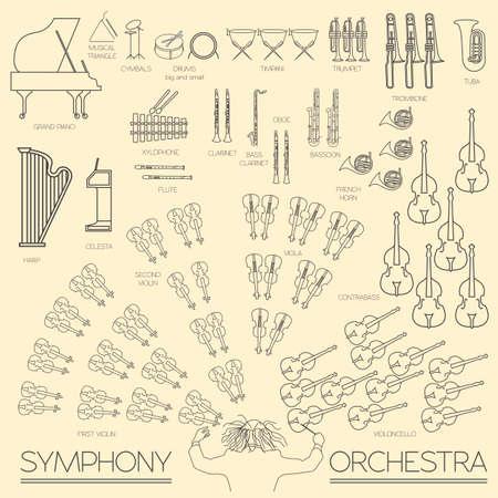orquesta: Instrumentos musicales plantilla gráfica. Todos los tipos de instrumentos musicales infografía. Ilustración vectorial Vectores