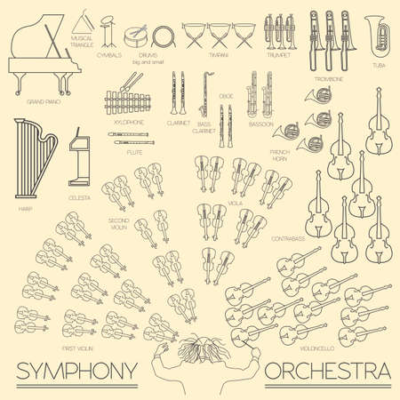 orchestra: Musical instruments graphic template. All types of musical instruments infographic. Vector illustration Illustration