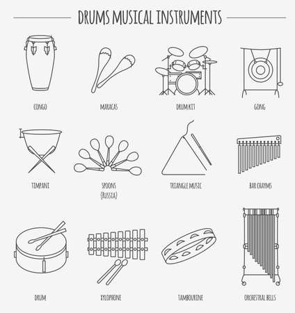 singing bells: Musical instruments graphic template. Drums. Vector illustration