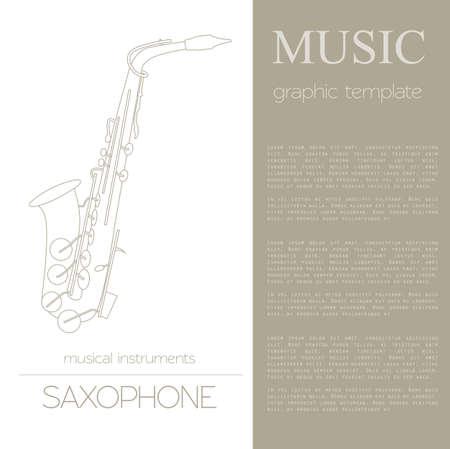 oboe: Musical instruments graphic template. Saxophone. Vector illustration Illustration