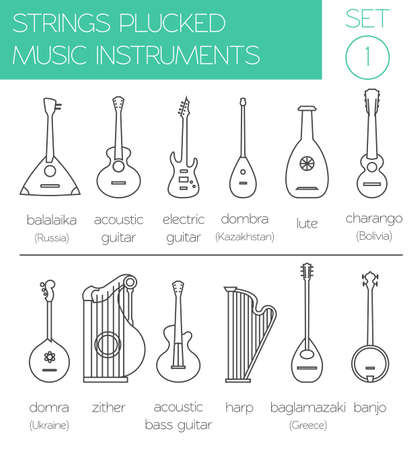 strings: Musical instruments graphic template. Strings plucked. Vector illustration Illustration