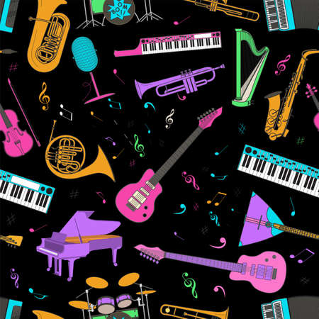 oboe: Musical instruments seamless pattern. Vector illustration