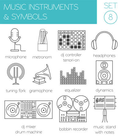 Musical Instruments Symbols Graphic Template Vector Illustration