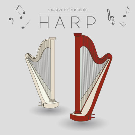 Musical instruments graphic template. Harp. Vector illustration