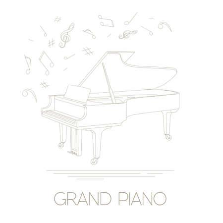 Musikinstrumente grafische Vorlage. Konzertflügel. Vektor-Illustration Standard-Bild - 47951824