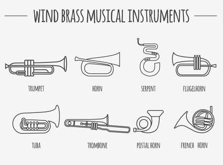 Muziekinstrumenten grafische sjabloon. Wind messing. vector illustratie