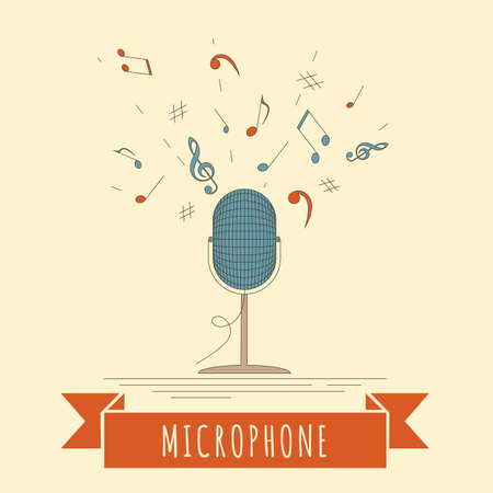 pop singer: Musical instruments graphic template. Microphone. Vector illustration