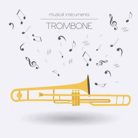 aerophone: Musical instruments graphic template. Trombone. Vector illustration