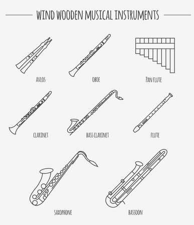 flauta: Instrumentos musicales plantilla gráfica. Viento de madera. Ilustración vectorial