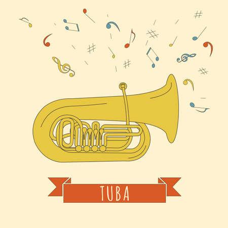 tuba: Musical instruments graphic template. Tuba. Vector illustration Illustration