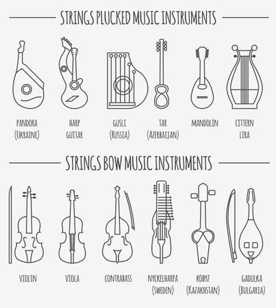 plucked: Musical instruments graphic template. Strings plucked and bow. Vector illustration Illustration