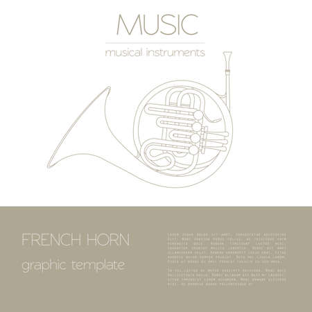 aerophone: Musical instruments graphic template. French horn. Vector illustration