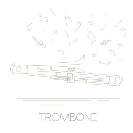tuba: Musical instruments graphic template. Trombone. Vector illustration
