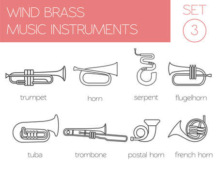 brass wind: Musical instruments graphic template. Wind brass. Vector illustration