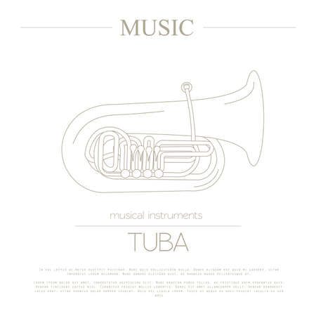 tuba: Musical instruments graphic template. Tuba. Vector illustration Illustration