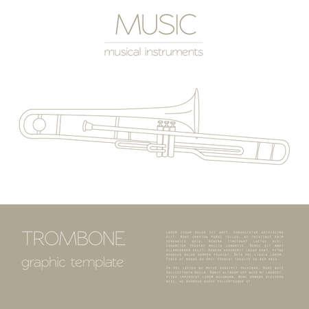 trombone: Musical instruments graphic template. Trombone. Vector illustration