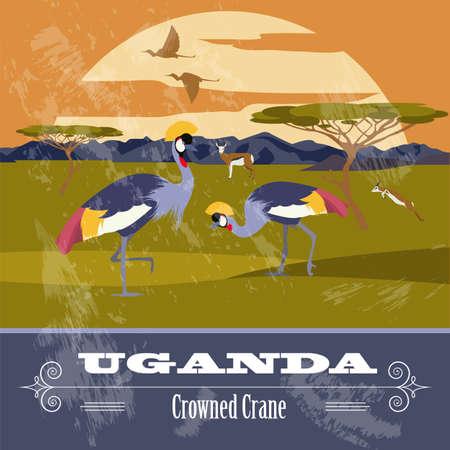 crowned: Uganda, Africa. Retro styled image. Vector illustration