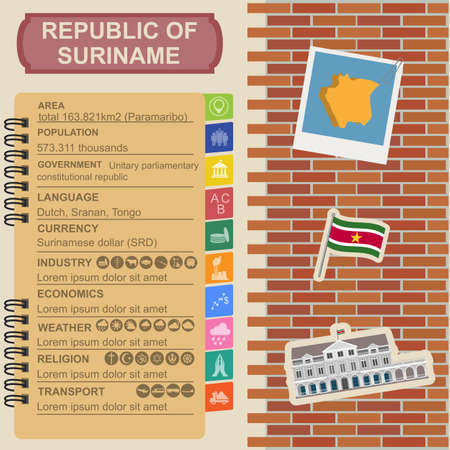 presidential: Suriname infographics, statistical data, sights. Presidential Palace in Paramaribo. Vector illustration
