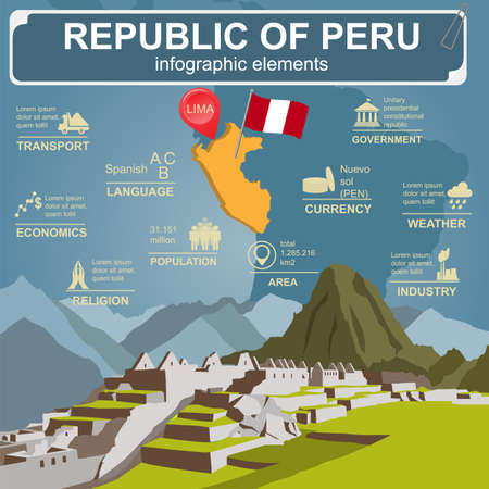 picchu: Peru  infographics, statistical data, sights. Vector illustration