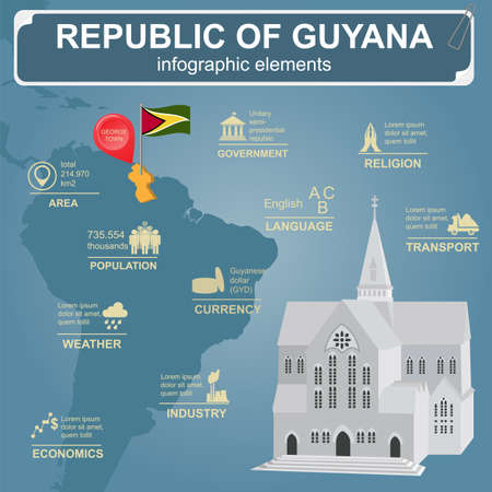 georgetown: Guyana infographics, statistical data, sights. Cathedral of St. George, Georgetown. Vector illustration