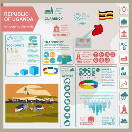 estadisticas: Uganda, �frica infograf�a, los datos estad�sticos, de las vistas. ilustraci�n vectorial Vectores