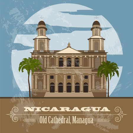 country church: Nicaragua  landmarks. Retro styled image. Vector illustration