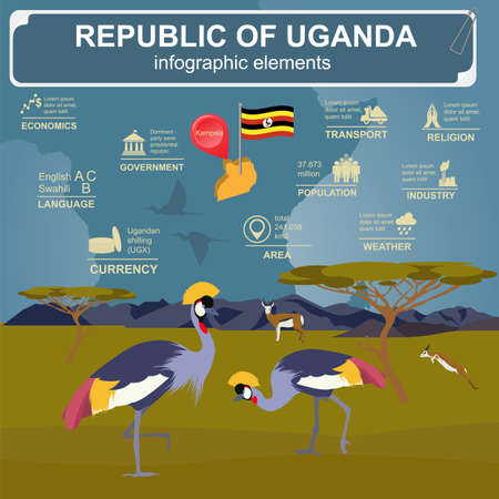 crowned: Uganda, Africa infographics, statistical data, sights. Vector illustration Illustration