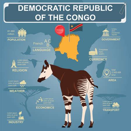 democratic republic of the congo: Democratic republic Congo infographics, statistical data, sights. Vector illustration