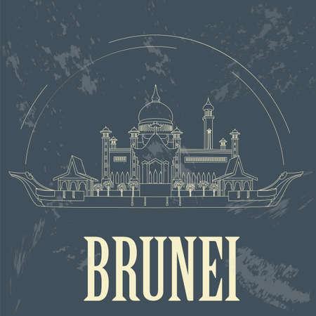 nations: Nation of Brunei  landmarks. Retro styled image. Sultan Omar Ali Saifuddin Mosque. Vector illustration Illustration