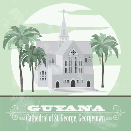 georgetown: Guyana  landmarks. Retro styled image.  Cathedral of St. George, Georgetown. Vector illustration