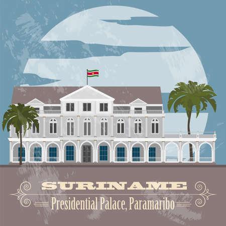 Suriname landmarks. Presidential Palace in Paramaribo. Retro styled image. Vector illustration Illustration