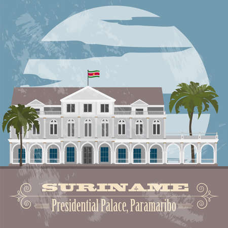 presidential: Suriname landmarks. Presidential Palace in Paramaribo. Retro styled image. Vector illustration Illustration