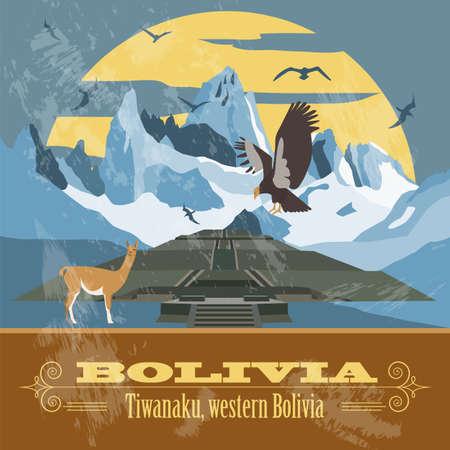 bolivia: Bolivia landmarks. Retro styled image. Vector illustration Illustration