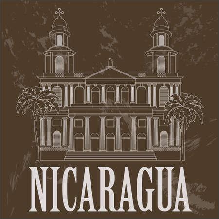 nicaragua: Nicaragua  landmarks. Retro styled image. Vector illustration
