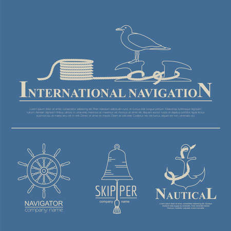 bollard: Set of sailing boat and nautical logos. Vector logo templates and badges