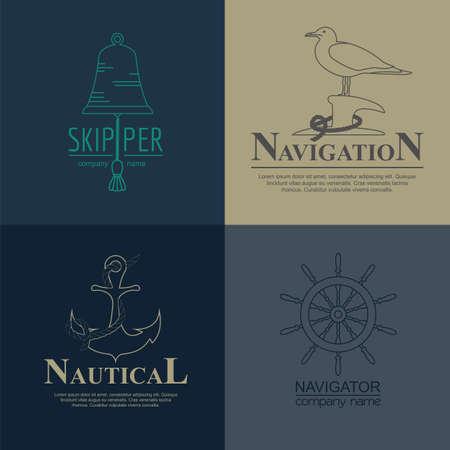 timon de barco: Conjunto de barco de vela y los logotipos náuticas. plantillas e insignias vector logo