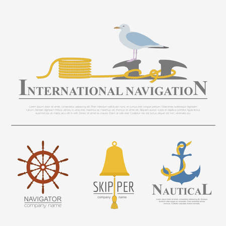 bollard: Set of sailing boat and nautical logos. Vector logo templates and badges
