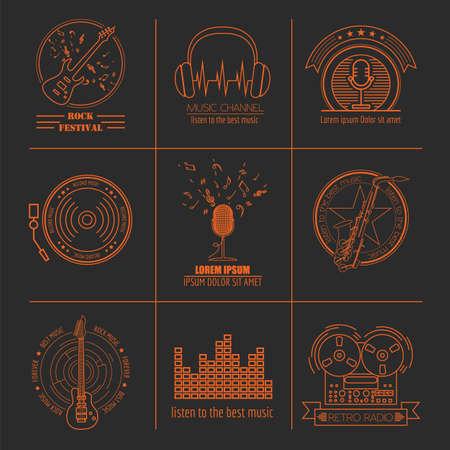 orquesta: Instrumentos musicales logotipos e insignias. plantilla gráfica. ilustración vectorial
