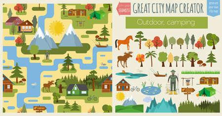 paisaje de campo: Gran mapa de la ciudad mapa patrón creator.Seamless. Camping, al aire libre, campo. Haga su ciudad perfecta. Ilustración vectorial