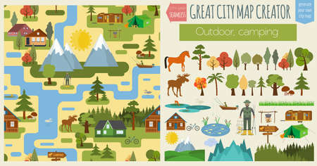 countryside background: Great city map creator.Seamless pattern map. Camping, outdoor, countryside. Make your perfect city. Vector illustration Illustration