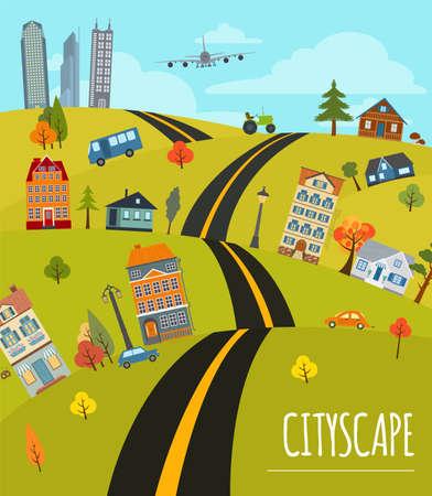 cartoon tractor: Cityscape conceptual graphic template. Urban, countryside, industrial buildings and outdoor scene. Graphic template. Infographic elements. Vector illustration