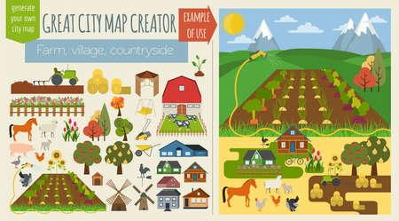 위대한 도시지도 creator.Seamless 패턴지도. 마을, 농장, 시골, 농업. 완벽한 도시를 확인합니다. 벡터 일러스트 레이 션