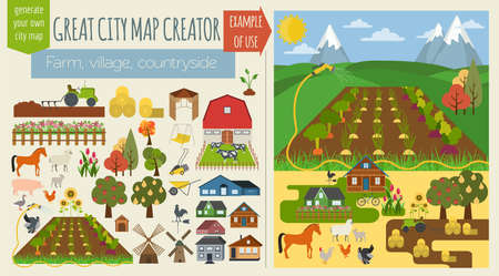 Grote stadskaart creator.Seamless patroon kaart. Village, boerderij, platteland, de landbouw. Maak uw perfecte stad. vector illustratie