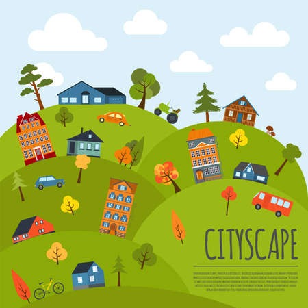 Cityscape conceptual graphic template. Urban, countryside, industrial buildings and outdoor scene. Graphic template. Infographic elements. Vector illustration