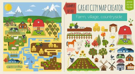 paisaje rural: Gran mapa de la ciudad mapa patr�n creator.Seamless. Pueblo, granja, campo, agricultura. Haga su ciudad perfecta. Ilustraci�n vectorial