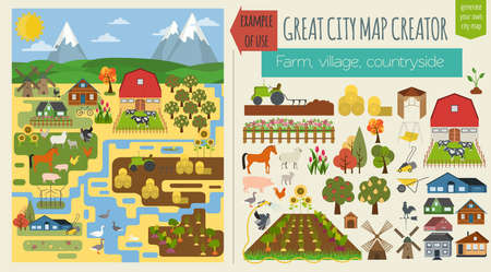 countryside landscape: Great city map creator.Seamless pattern map. Village, farm, countryside, agriculture. Make your perfect city. Vector illustration Illustration