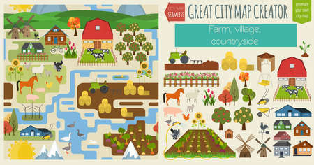 Great city map creator.Seamless pattern map. Village, farm, countryside, agriculture. Make your perfect city. Vector illustration Иллюстрация