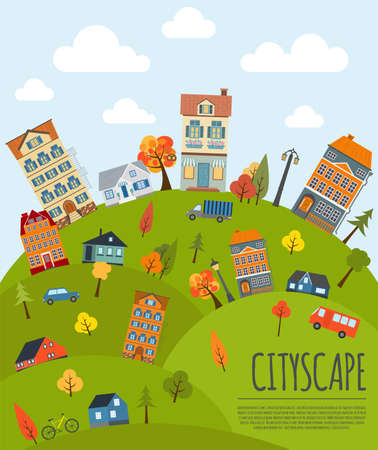 town houses: Cityscape conceptual graphic template. Urban, countryside, industrial buildings and outdoor scene. Graphic template. Infographic elements. Vector illustration