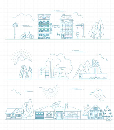 the creator: Great city map creator. Outline version. House constructor. House, cafe, restaurant, shop, infrastructure, industrial, transport, village and countryside. Make your perfect city. Vector illustration